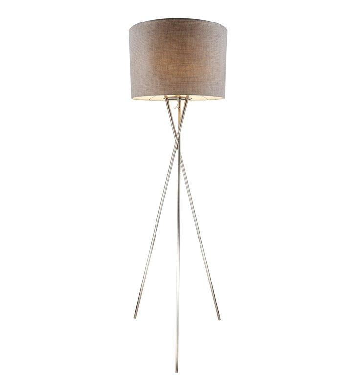 Lampa podłogowa Paco szara na metalowym trójnogu