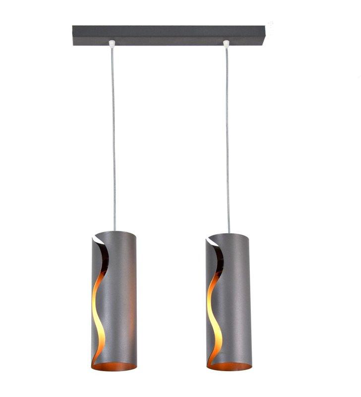 Szara nowoczesna lampa wisząca Burn Gray 2 zwisowa metalowa - DOSTĘPNA OD RĘKI