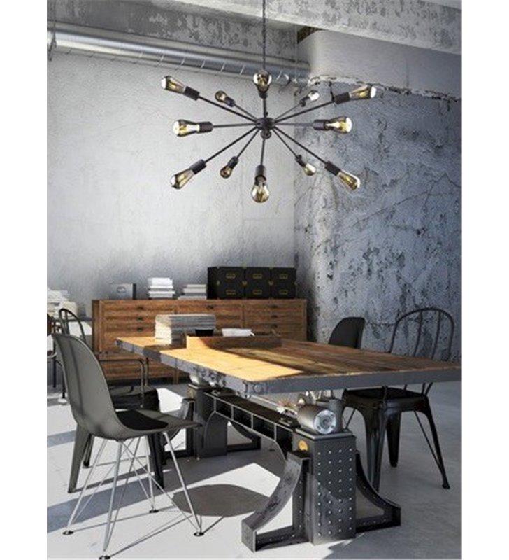 Wielopunktowa lampa wisząca żyrandol Rod czarna loftowa do salonu sypialni kuchni jadalni pokoju nastolatka