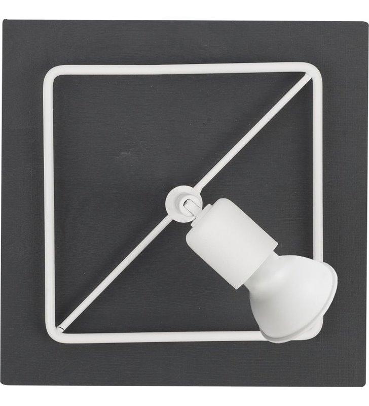 Kinkiet Coba czarno biały nowoczesna wykonany z drewna i metalu