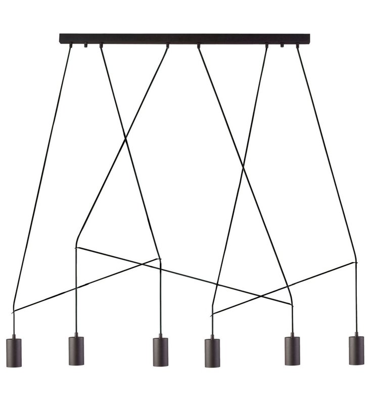 Wąska czarna nowoczesna lampa wisząca Imbria styl loftowy do salonu sypialni jadalni kuchni nad stół