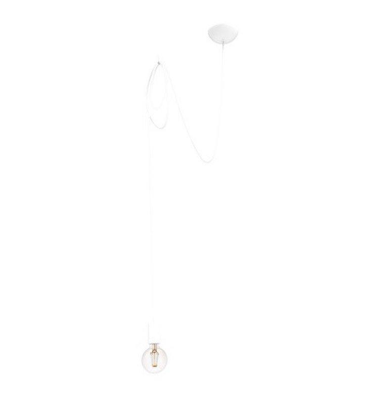 Lampa wisząca Spider biały długi kabel w oplocie do żarówki