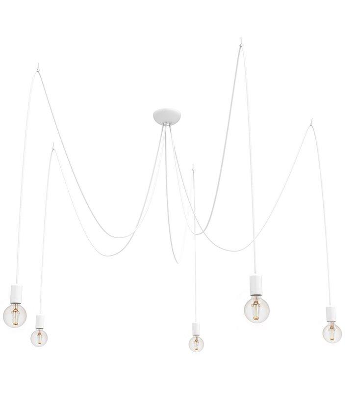 Lampa wisząca Spider biała 5 punktowa długie przewody w oplocie styl nowoczesny minimalistyczny loftowy