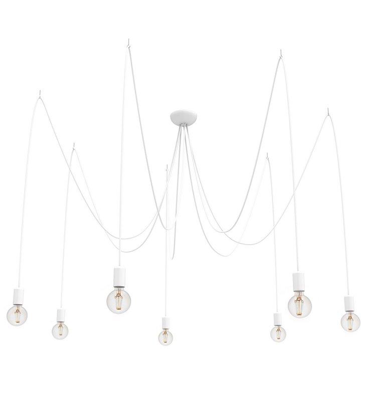 Biała 7 zwisowa lampa Spider długie przewody w oplocie nowoczesna loftowa do salonu sypialni jadalni kuchni