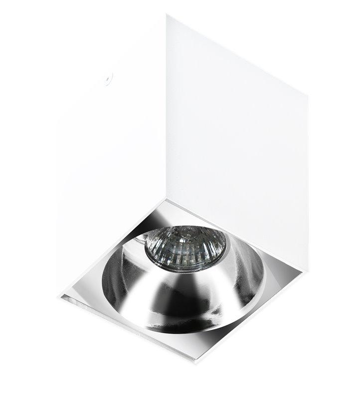 Lampa sufitowa downlight Hugo biała kwadratowa wybór koloru wnętrza
