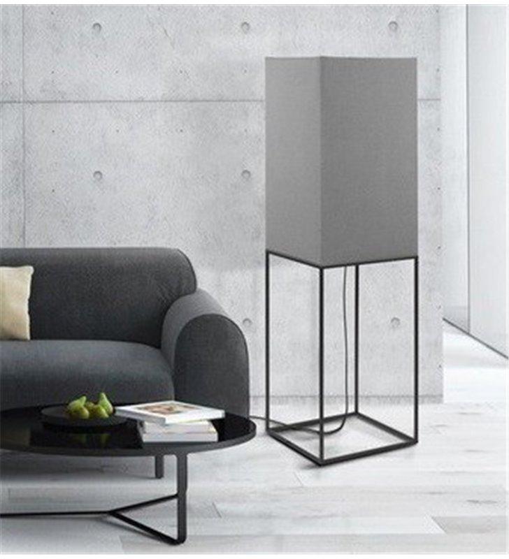 Lampa podłogowa Flam szara z czarna podstawą z metalowych profili nowoczesna