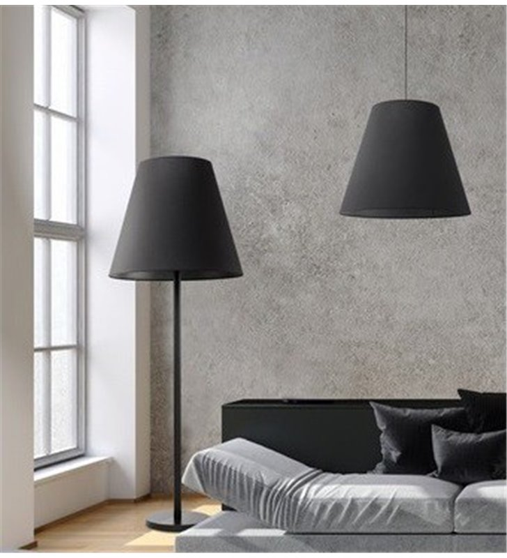 Lampa podłogowa Moss czarna z dużym abażurem tekstylnym nowoczesna