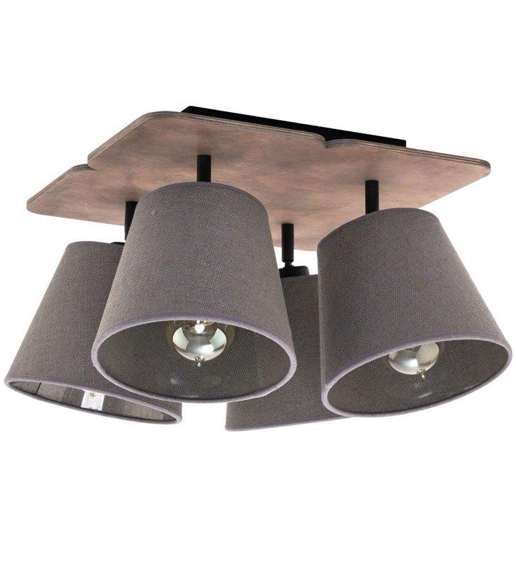 Lampa sufitowa Awinion 4 płomienna drewniana podsufitka tekstylne abażury - DOSTĘPNA OD RĘKI