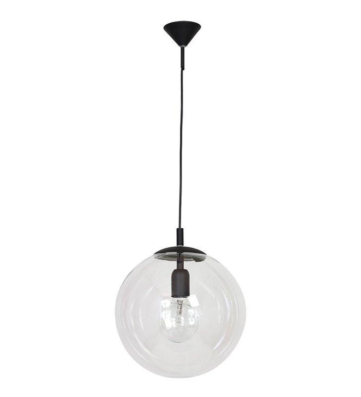 Lampa wisząca Globus czarna z bezbarwnym kloszem w kształcie kuli