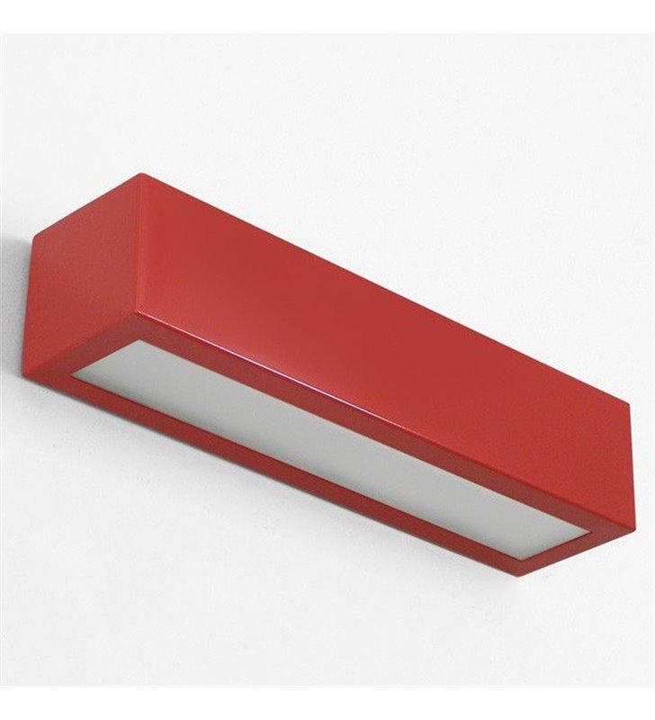 Kinkiet Nekla 50 prostokątny podłużny czerwony połysk do salonu sypialni na przedpokój do pokoju dziecka - DOSTĘPNY OD RĘKI