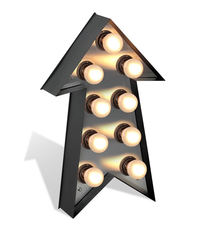 Nowoczesna lampa stojąca Literki podświetlana strzałka z żarówkami