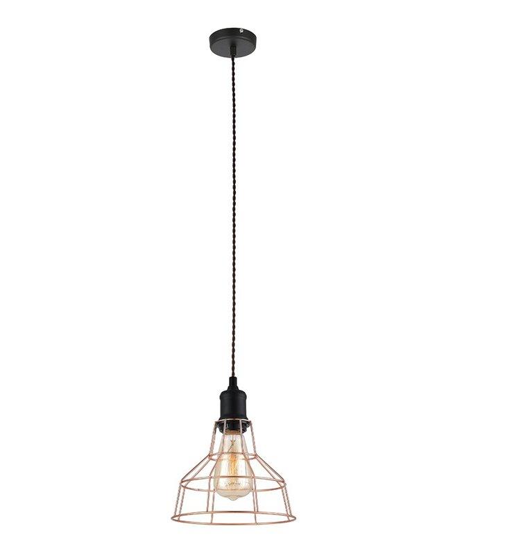 Druciana loftowa lampa wisząca Perifo klosz w kolorze miedzi czarne wykończenie