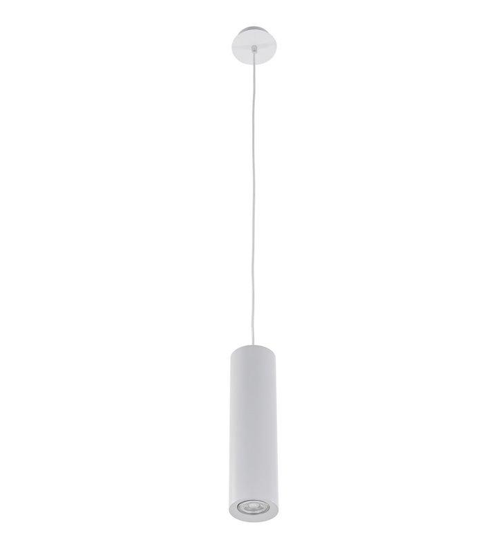 Lampa wisząca Jet biała nowoczesna klosz metalowy podłużny walec