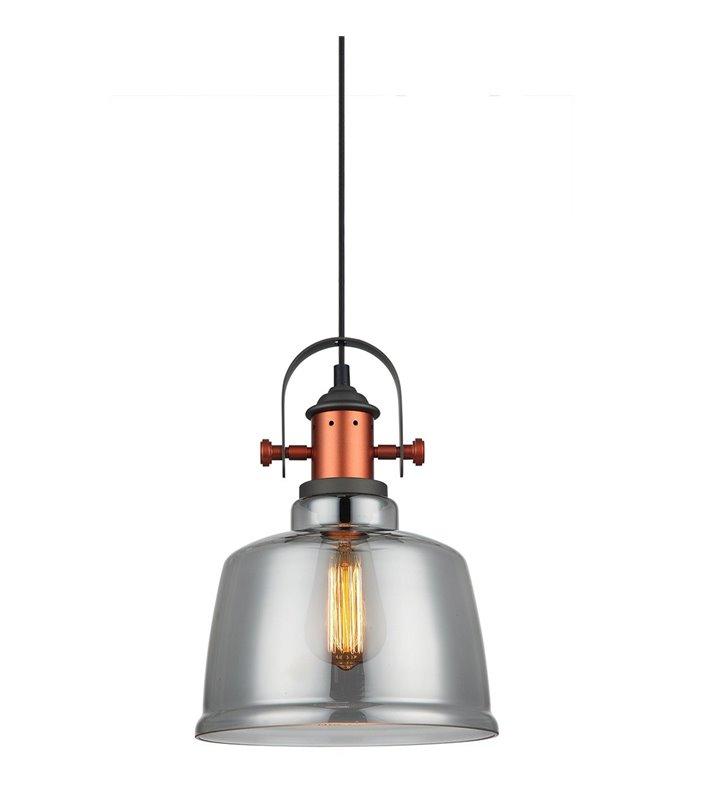 Nowoczesna lampa wisząca Simalto szara ze szklanym kloszem