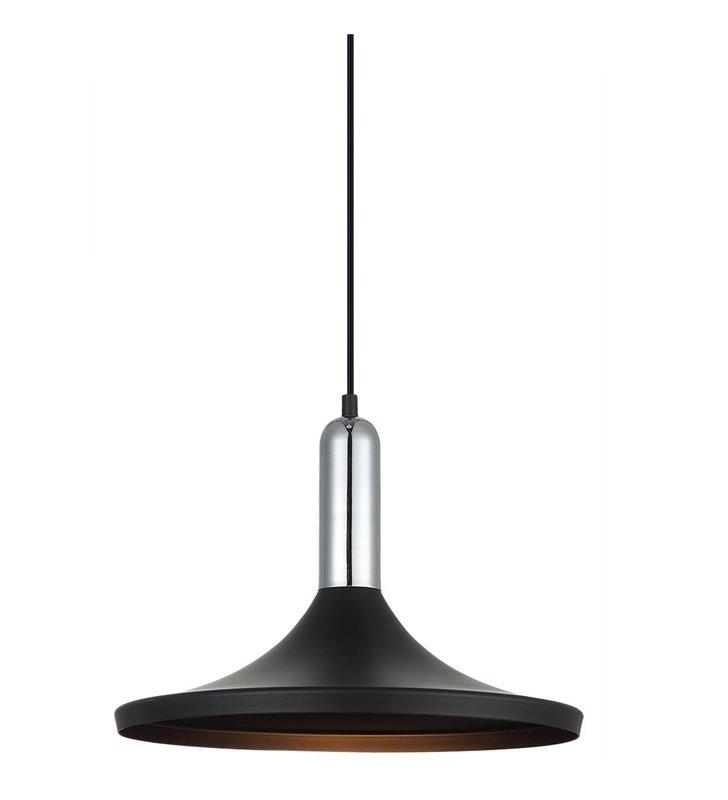 Lampa wisząca Lusty czarna metalowa rozłożysty klosz