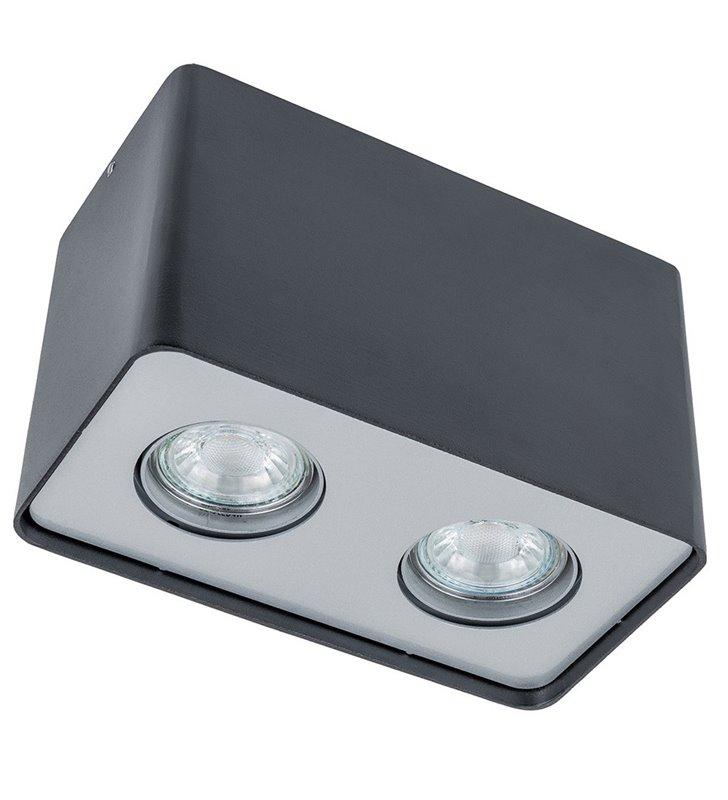 Podwójna prostokątna natynkowa lampa Harris w kolorze czarnym