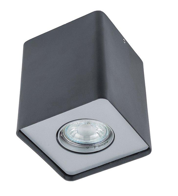 Kwadratowa natynkowa lampa sufitowa downlight Harris w kolorze czarnym