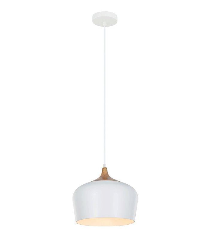 Lampa wisząca Britta biała z elementem imitującym drewno styl skandynawski do pomieszczeń nowoczesnych