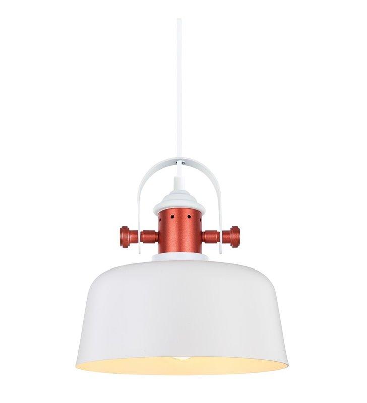 Loftowa biała lampa wisząca Elysia z miedzianym wykończeniem