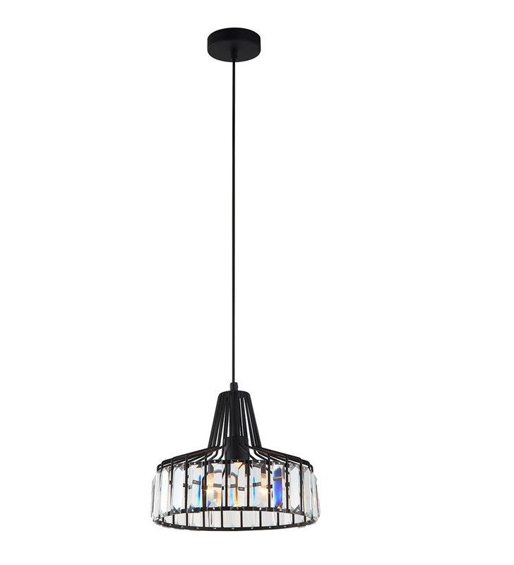 Nowoczesna czarna druciana wisząca lampa z podłużnymi kryształkami Manzo