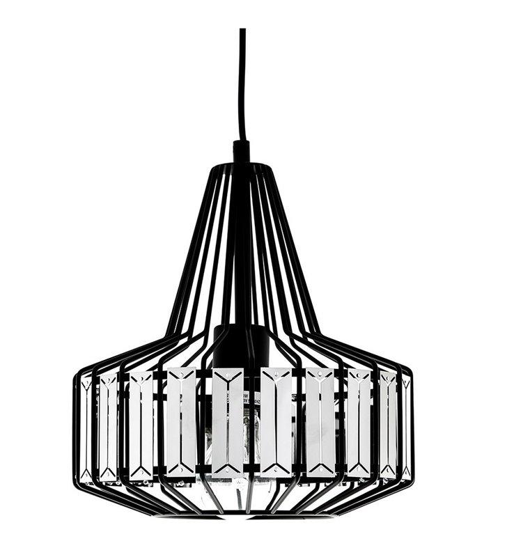 Lampa wisząca Vanglo czarna druciana z metalowymi blaszkami rozpraszającymi światło