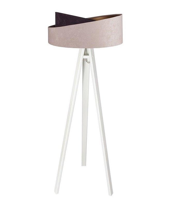 Lampa podłogowa Arianna na białym trójnogu abażur asymetryczny beżowo brązowy