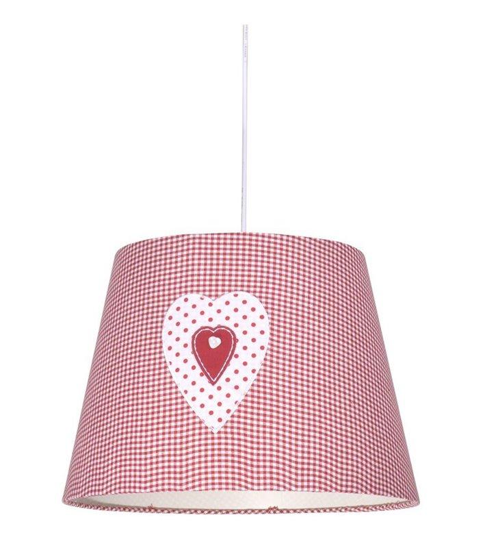 Dziecięca biało czerwona lampa wisząca Sweet abażur w krateczkę ozdobiony serduszkiem - DOSTĘPNA OD RĘKI