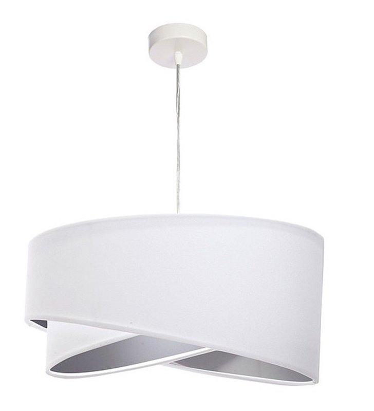Lampa wisząca Cecilia biały welurowy abażur ze srebrnym wnętrzem średnica 50cm do salonu sypialni jadalni