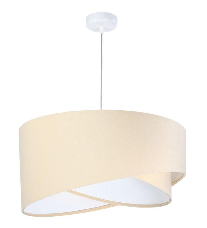 Lampa wisząca Kiara kremowa z tkaniny welurowej