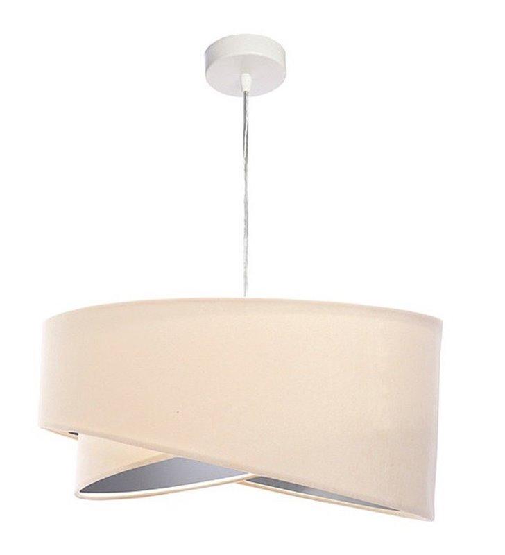 Kremowa welurowa lampa zwisająca Lori wnętrze abażura srebrne