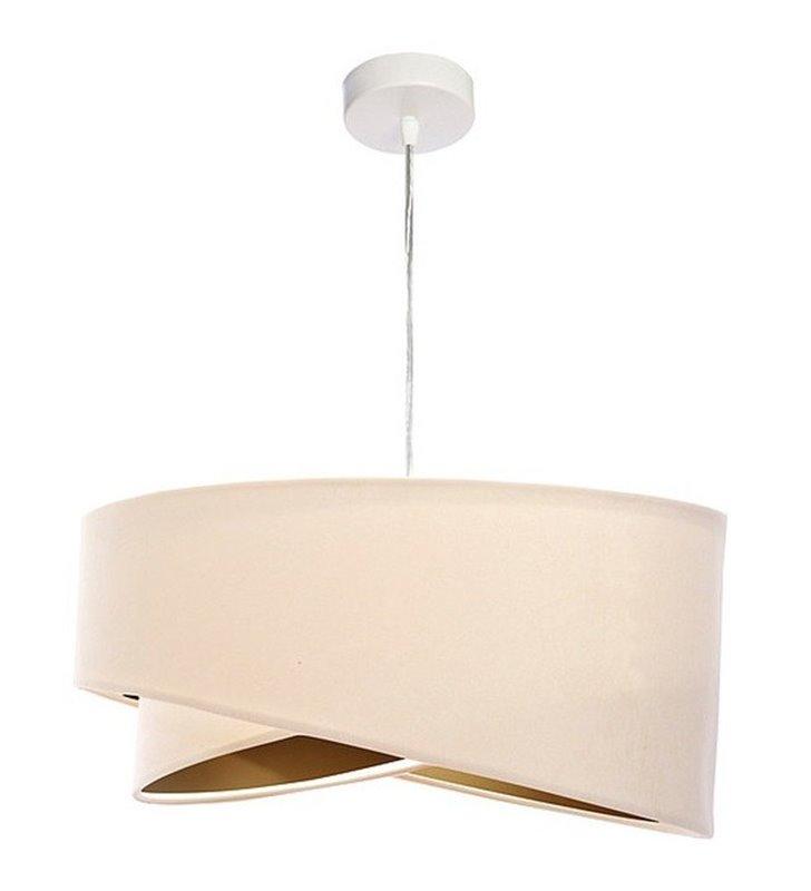 Oryginalna asymetryczna wisząca lampa Mea w kolorze kremowym ze złotym środkiem klosza tkanina welurowa