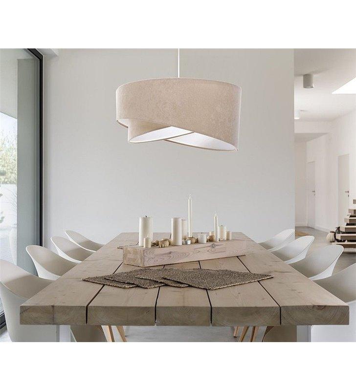 Beżowa welurowa lampa wisząca Ofelia abażur asymetryczny 50cm