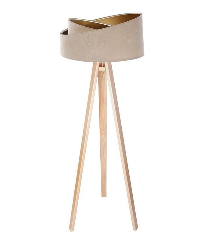 Lampa podłogowa Samantha beżowo złoty asymetryczny abażur drewniany sosnowy trójnóg