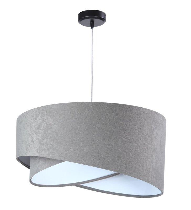 Lampa wisząca Tami szara nowoczesna abażur welurowy