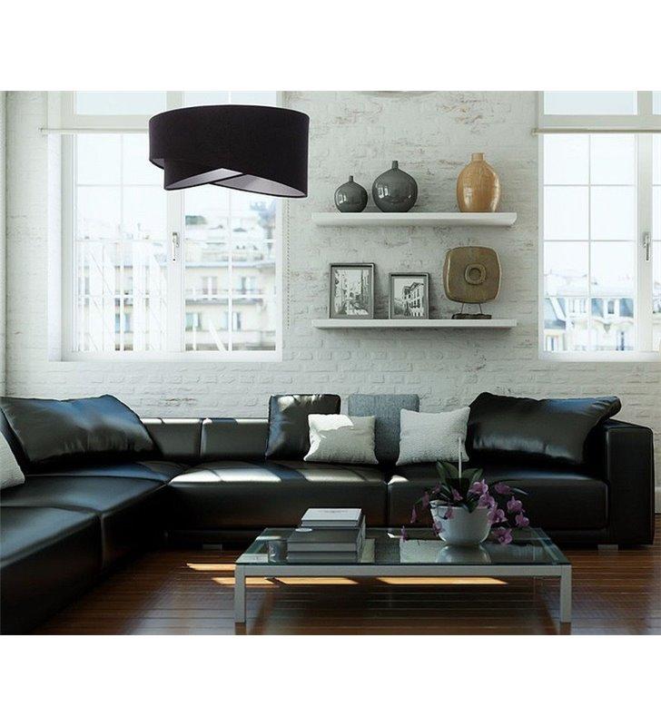 Lampa Podłogowa Donna Czarno Srebrny Asymetryczny Abażur