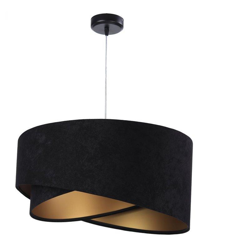 Czarno złota lampa wisząca Emi tkanina welurowa do salonu jadalni sypialni