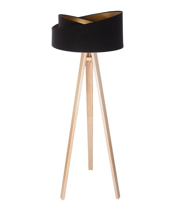 Lampa podłogowa Emi czarno złoty welurowy abażur drewniany trójnóg do sypialni jadalni salonu