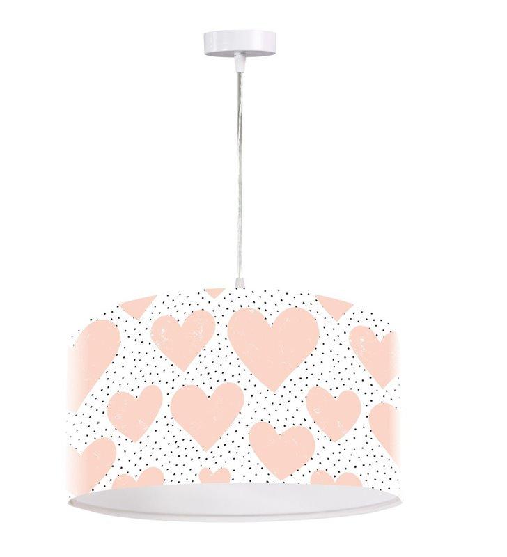 Lampa wisząca Pinky jasna z różowymi serduszkami do pokoju dziecięcego