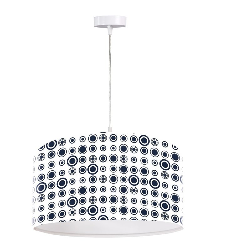 Czarno biała wisząca lampa Porto modny wzór okrągła do salonu sypialni pokoju młodzieżowego