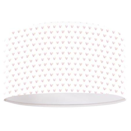 Biała okrągła lampa wisząca do pokoju dziecka z różowymi serduszkami Lucy
