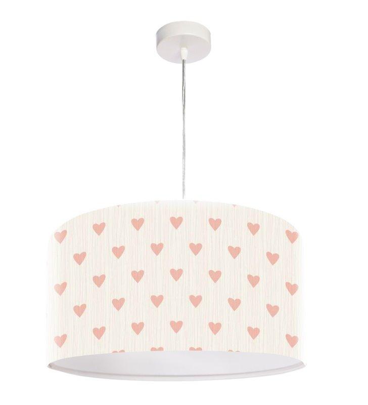Lampa wisząca Julia kremowa z serduszkami do pokoju dziewczynki