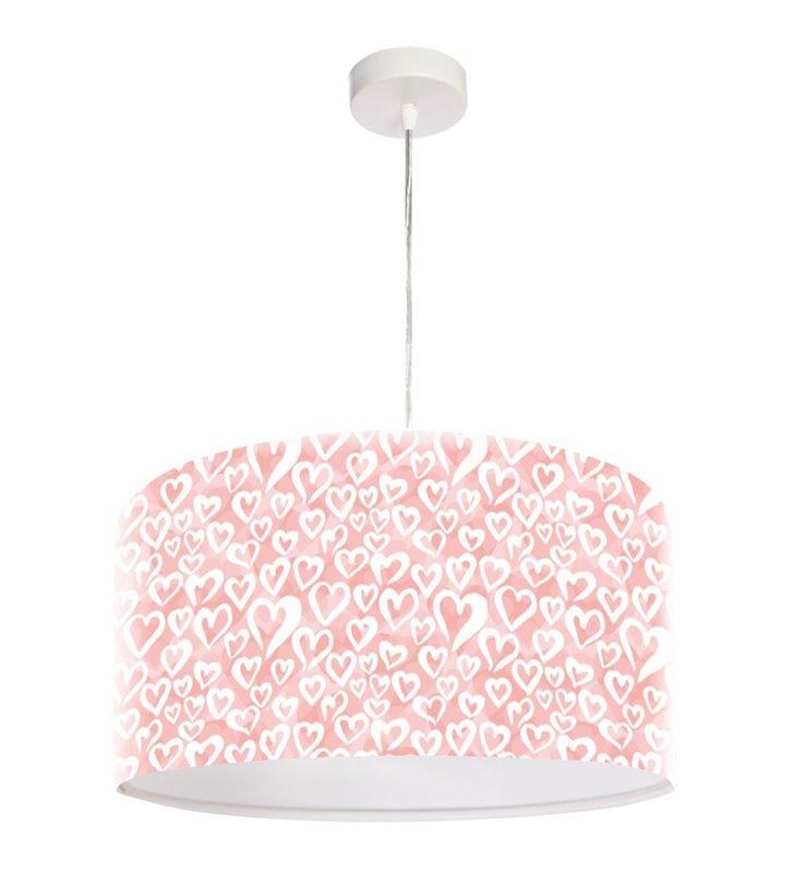Lampa wisząca Gabi w kolorze różowym z serduszkami 40cm dziecięca