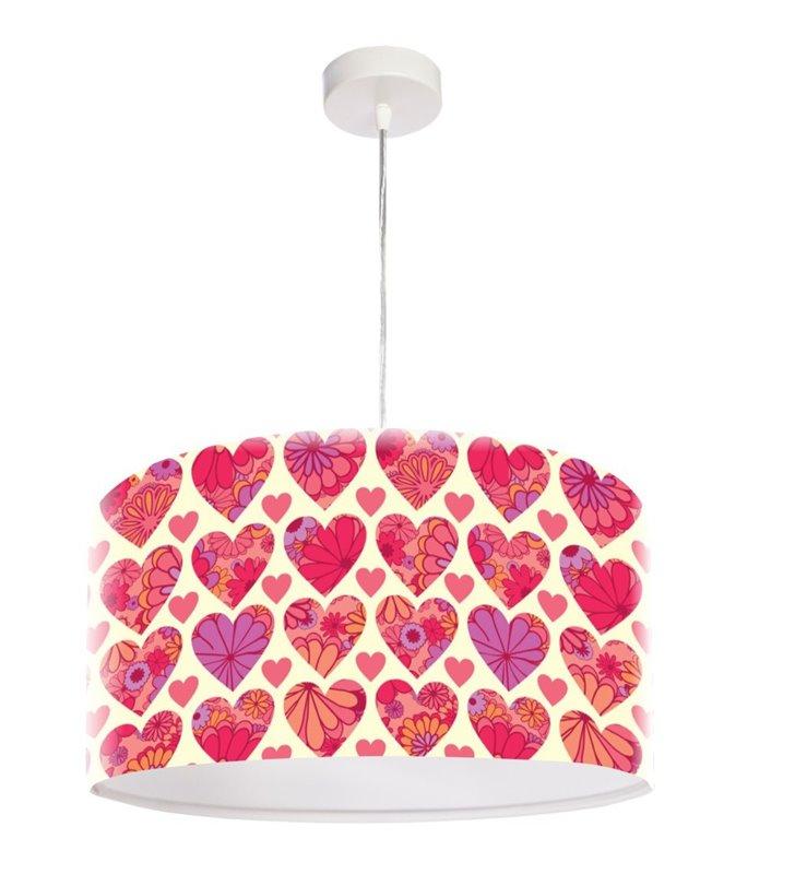 Kolorowa lampa wisząca z serduszkami średnica 50cm Harriet dziecięca
