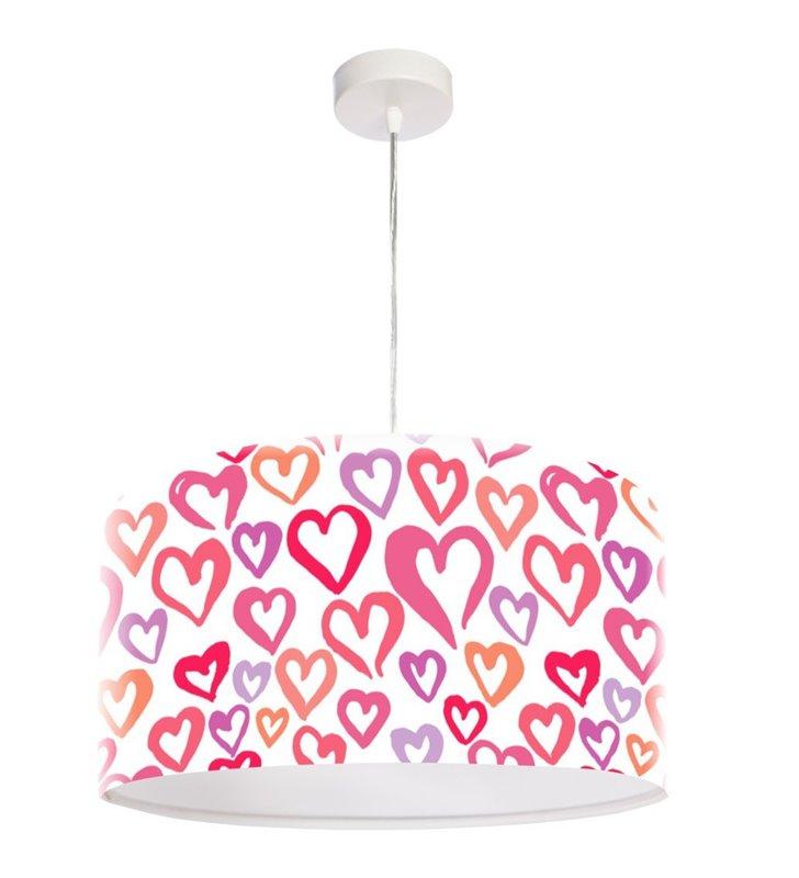 Lampa wisząca Camille z kolorowymi serduszkami dla dziewczynki