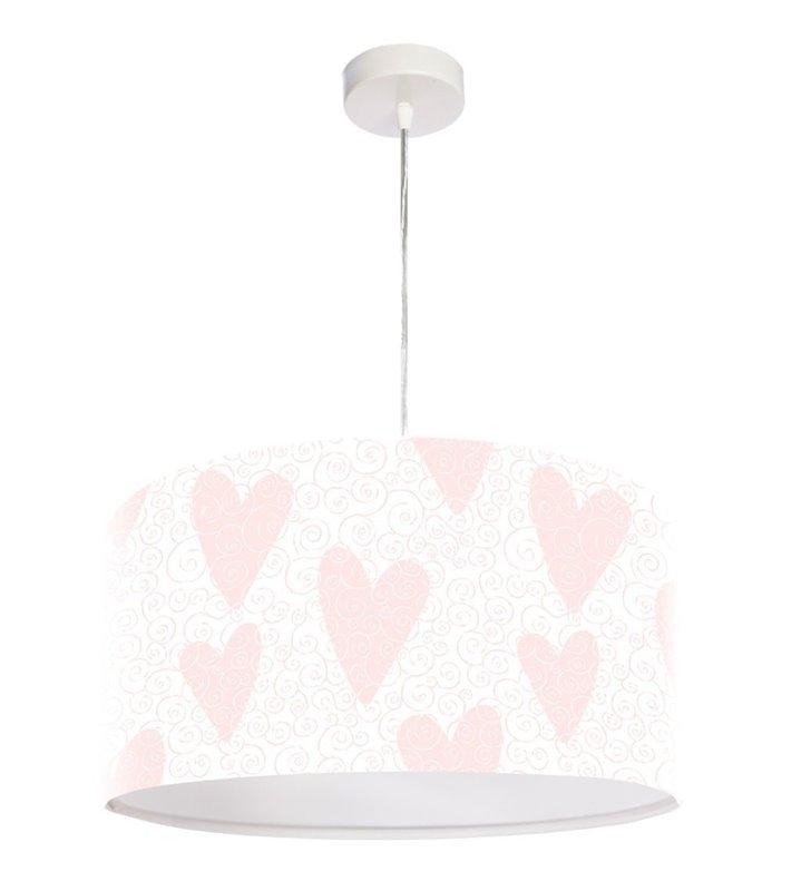 Wisząca lampa dla dziewczynki Patty jasna delikatna z różowymi serduszkami
