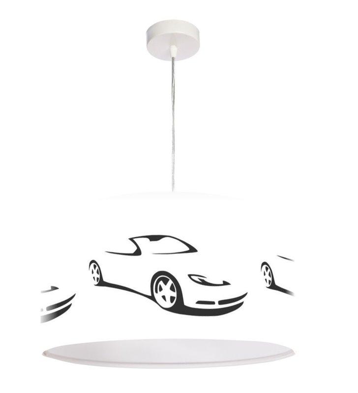 Wisząca lampa dla chłopca Auta biała z samochodami