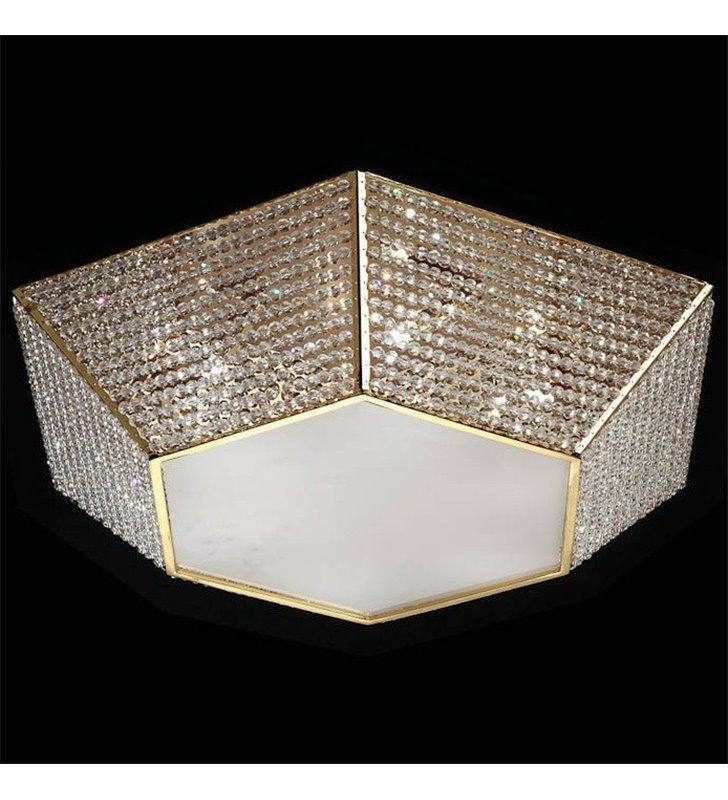 Elegancki złoty kryształowy 6 kątny plafon Aitna