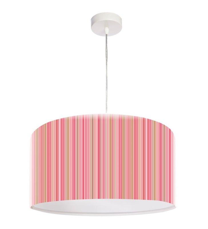 Lampa wisząca Tobias okrągła abażur z tworzywa w kolorowe paski