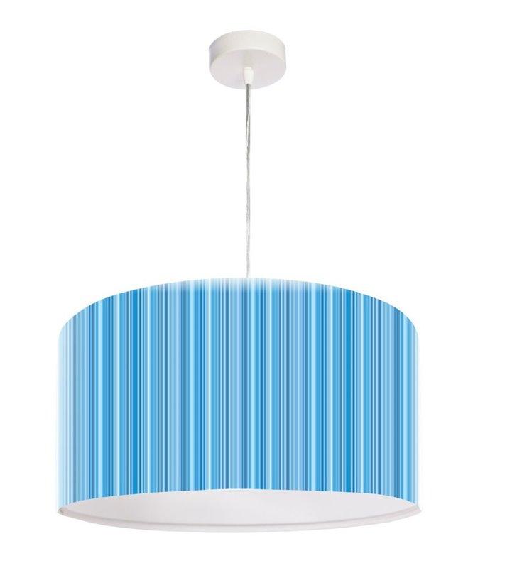 Niebieska wisząca lampa w prążki Laurent 50cm