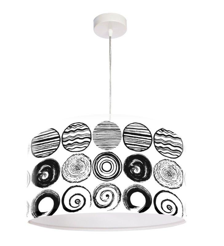 Czarno biała lampa Quentin wisząca nowoczesna okrągła abażur z tworzywa nowoczesna grafika